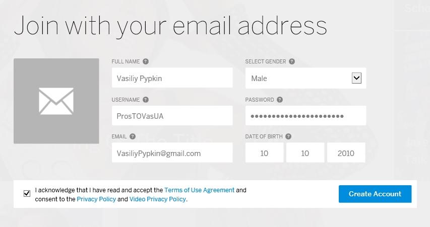 Вход на МайСпейс через Email