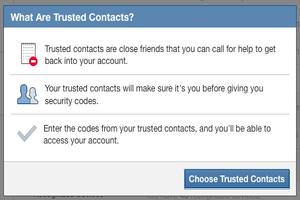 Доверенные люди для восстановления пароля на Facebook