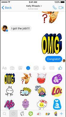 Скрин мессенджера для Фейсбука с стикерамии