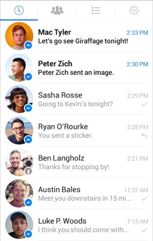 Скрин контактов в Messenger с Андроида