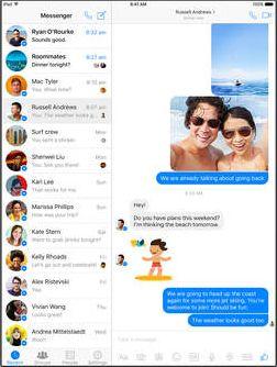 Скрин чата для Фейсбука с iPad