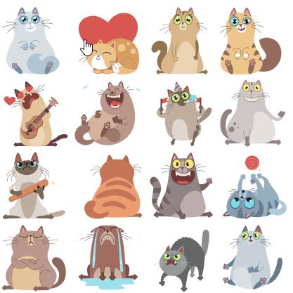 Стикеры-кошки в Одноклассниках